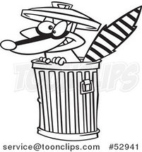 Cartoon Outlined Rascal Raccoon in a Trash Can by Ron Leishman