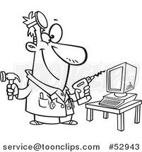 Cartoon Outlined Computer Repair Technician with Tools by Ron Leishman
