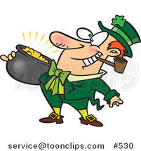 Cartoon Leprechaun with a Pipe and Pot of Gold by Ron Leishman