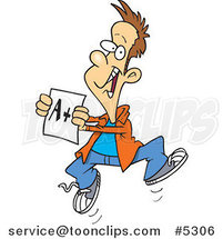 Cartoon Happy Boy Holding a Good Report Card by Ron Leishman