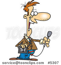Cartoon News Reporter Holding a Microphone by Toonaday