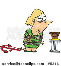 Cartoon Fat Lady Tied up Next to Cake by Ron Leishman