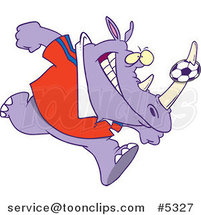 Cartoon Rhino with a Soccer Ball on His Horn by Ron Leishman