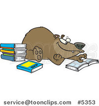 Cartoon Bear Reading Books by Toonaday