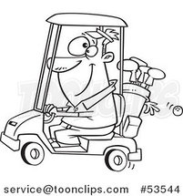 Cartoon Outlined Happy Guy Driving a Golf Cart by Ron Leishman