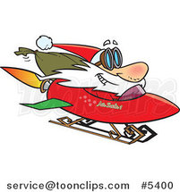 Cartoon Santa on a Rocket Sled by Ron Leishman