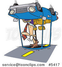 Cartoon Guy Rolling His Car by Ron Leishman