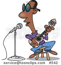 Cartoon Black Guy Singing the Blues by Ron Leishman