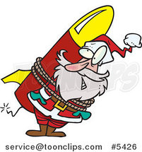 Cartoon Santa Strapped to a Rocket by Toonaday