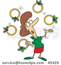 Cartoon Christmas Lady Juggling Five Golden Rings by Ron Leishman