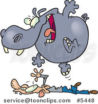 Cartoon Hippo Pouncing on a Guy by Toonaday