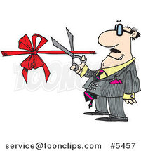 Cartoon Business Man Performing a Ribbon Cutting Ceremony by Ron Leishman