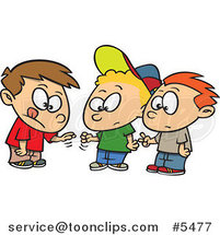 Cartoon Group of Boys Playing Rock Paper Scissors by Ron Leishman