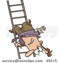 Cartoon Business Man Upside down on a Ladder Rung by Toonaday
