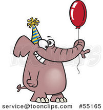 Cartoon Happy Birthday Elephant Holding a Balloon by Ron Leishman