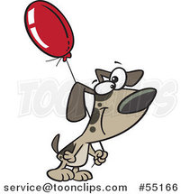 Cartoon Dog Carrying a Birthday Balloon by Toonaday