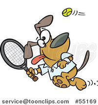 Cartoon Dog Swinging a Tennis Racket by Ron Leishman