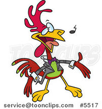 Cartoon Singing Rooster by Toonaday