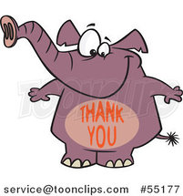 Cartoon Purple Elephant with a Thank You Belly by Toonaday