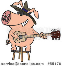 Cartoon Blues Pig Musician Playing a Guitar by Toonaday