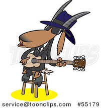 Cartoon Blues Goat Musician Playing a Guitar by Toonaday