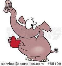 Cartoon Sweet Elephant Holding a Red Valentine Heart by Toonaday