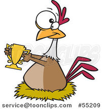 Cartoon Prized Chicken Holding a Golden Trophy by Ron Leishman