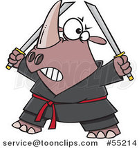 Cartoon Ninja Rhino Holding Swords by Ron Leishman
