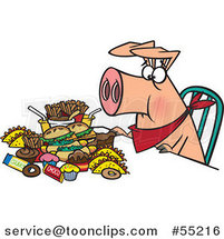 Cartoon Pigging out Hog with Junk Food by Ron Leishman