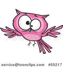 Cartoon Cross Eyed Pink Owl by Toonaday