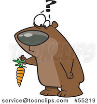 Cartoon Confused Bear Holding a Carrot by Toonaday
