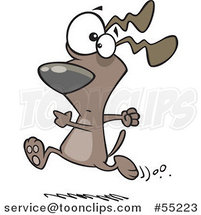 Cartoon Dog Running with a Worried Expression by Ron Leishman