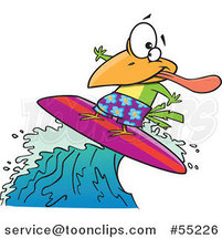 Cartoon Surfer Bird Riding a Wave by Ron Leishman