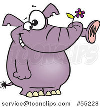 Cartoon Giddy Purple Elephant Holding a Flower in His Trunk by Toonaday