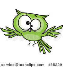 Cross Eyed Green Owl Flying Cartoon by Toonaday