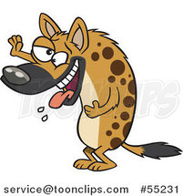 Laughing Hyena Slobbering and Holding up a Paw Cartoon by Ron Leishman