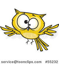 Cross Eyed Yellow Owl Flying Cartoon by Toonaday