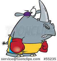 Boxer Rhino with a Black Eye Cartoon by Toonaday
