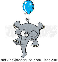 Scared Elephant Floating with a Blue Balloon Cartoon by Ron Leishman