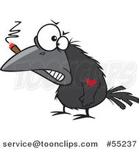 Tough Crow Smoking a Cigar and Sporting a Heart Tattoo Cartoon by Toonaday