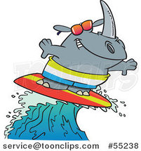 Surfing Rhino Riding a Wave Cartoon by Ron Leishman