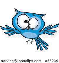 Cross Eyed Blue Owl Flying Cartoon by Toonaday