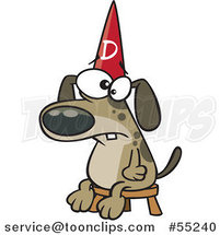Cartoon Dumb Dog Wearing a Hat on a Stool by Ron Leishman