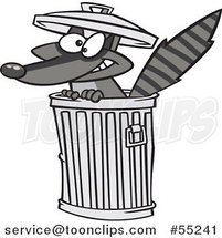Cartoon Grinning Rascal Raccoon in a Trash Can by Ron Leishman