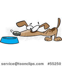 Cartoon Dog Sniffing Food in a Bowl by Toonaday