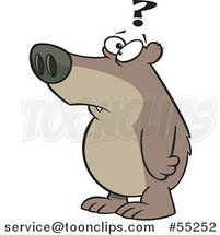 Cartoon Confused Bear with a Question Mark by Toonaday