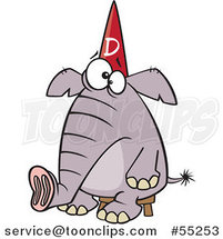 Cartoon Dumb Elephant Sitting on a Stool and Wearing a Dunce Hat by Toonaday
