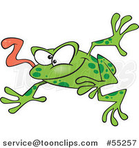 Cartoon Leaping Green Frog with His Tongue Hanging out by Toonaday