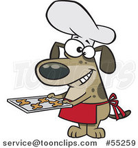 Cartoon Chef Dog Holding Fresh Baked Biscuits on a Tray by Toonaday