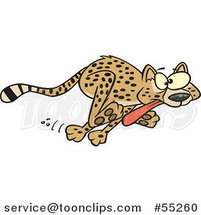 Cartoon Cheetah Running with Its Tongue Hanging out by Toonaday